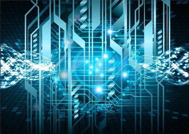 Technologie-konzepthintergrund der blauen cyberstromkreiszukunft