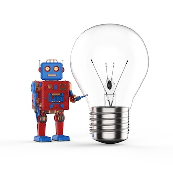 Technologie-kreativitätskonzept mit 3d-rendering-zinnspielzeugroboter halten glühbirne