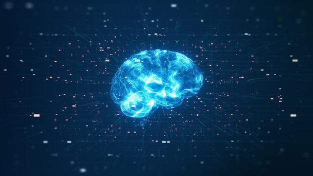 Technologie künstliche intelligenz (ki) gehirnanimation digitales datenkonzept. big data flow-analyse. deep learning moderne technologien. futuristische innovation in der cyber-technologie. schnelles digitales netzwerk.