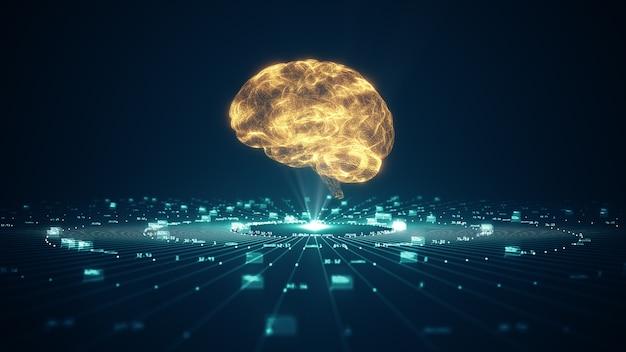Technologie künstliche intelligenz (ki) gehirnanimation digitales datenkonzept.