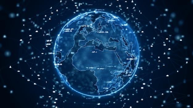 Technologie-netzwerk datenverbindung, digitales datennetz und cyber-sicherheitskonzept. erdelement von der nasa eingerichtet.