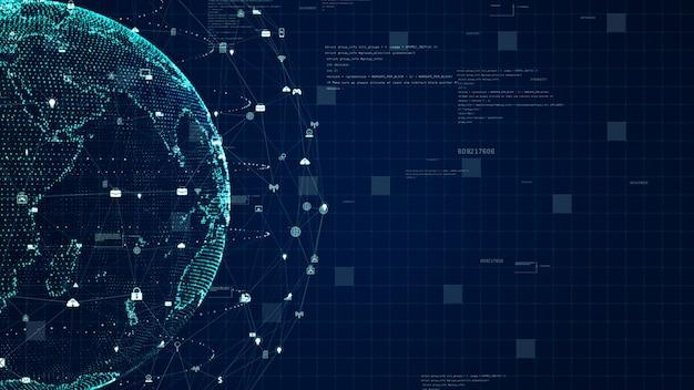 Technologie-netzwerk-datenverbindung, digitales datennetz und internetsicherheitskonzept. erdelement von der nasa eingerichtet.