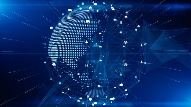 Technologie-netzwerk-datenverbindung, digitales netzwerk und internetsicherheitskonzept. erdelement von der nasa eingerichtet.