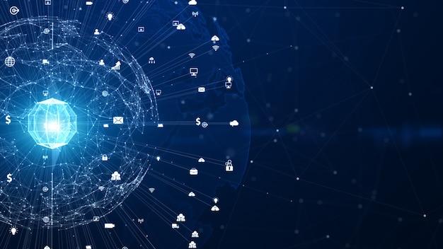 Technologie netzwerk netzwerkverbindung, digitales netzwerk und cybersicherheit hintergrundkonzept. erdelement von der nasa eingerichtet.