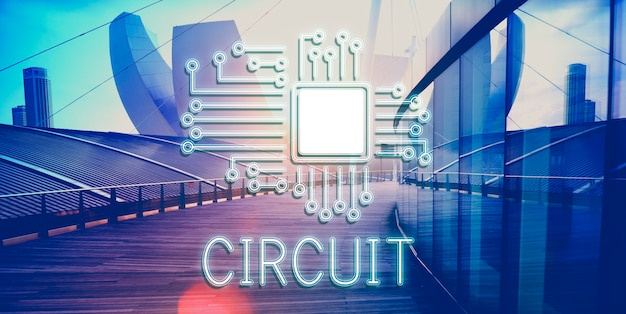 Technologie-schaltungsprozessor-innovationsnetzwerk-konzept