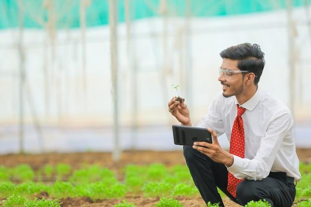 Technologie- und personenkonzept, junger indischer agronom mit tablette am gewächshaus