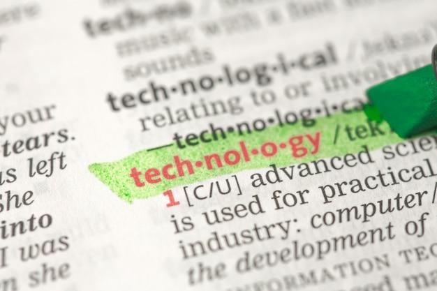 Technologiedefinition grün hervorgehoben