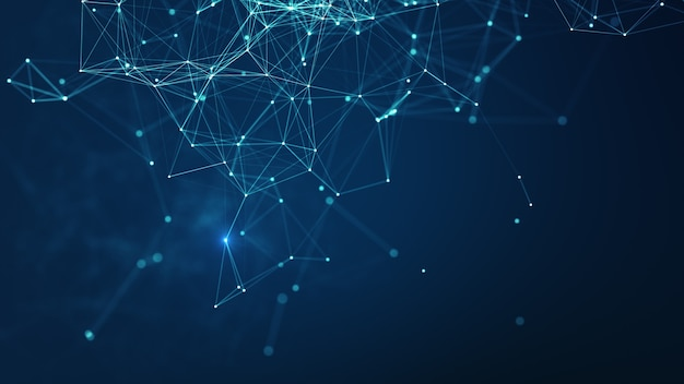Technologiehintergrund. abstrakte verbundene punkte und linien auf blauem hintergrund. kommunikations- und technologienetzwerkkonzept mit beweglichen linien und punkten. struktur der netzwerkverbindung.