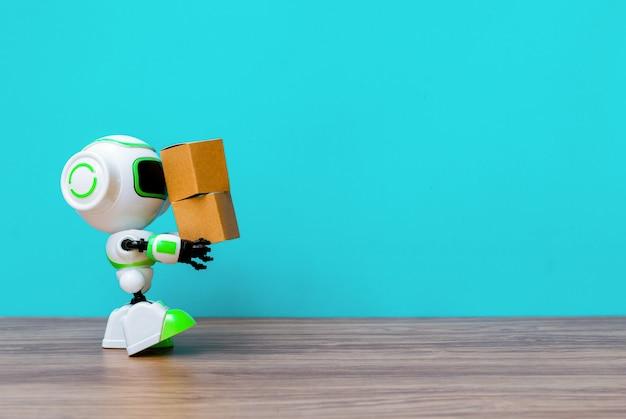 Technologieroboter, der industrie den kasten oder die roboter hält, die anstelle von menschen arbeiten