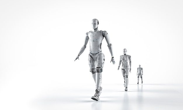 Technologieverbesserungskonzept mit 3d-rendering-gruppe von cyborgs zu fuß