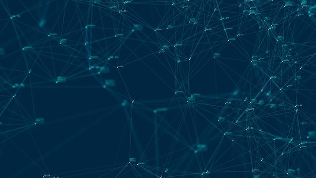 Technologieverbindung digitales big-data-konzept. zusammenfassung des digitalen datenflusses auf blauem hintergrund. übertragung von big data. übertragung und speicherung von datensätzen, blockchain, server, highspeed-internet.