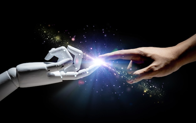 Technologieverbindung mit menschlichem finger mit roboterfinger verbinden