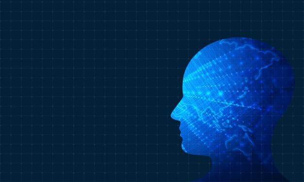 Technologischer hintergrund des menschlichen kopfes