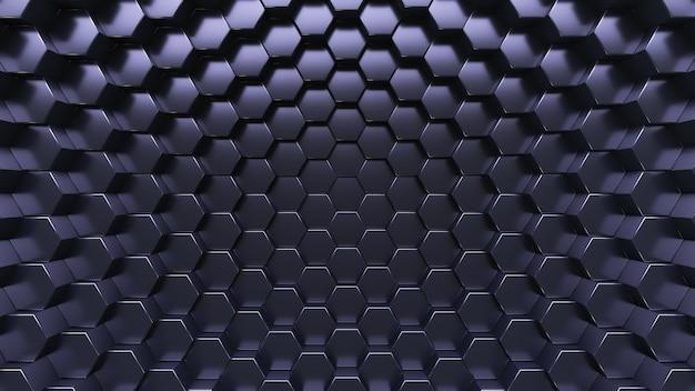 Technologischer hintergrund. sechseckige kristalle. dunkelblauer stil.