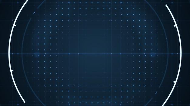 Technologischer zukünftiger benutzerschnittstellenhud mit spinnenden kreisen auf dunkelblauem hintergrund.