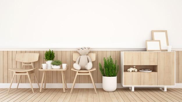 Teddybär betreffen stuhl im kinderraum oder in der kaffeestube - wiedergabe 3d