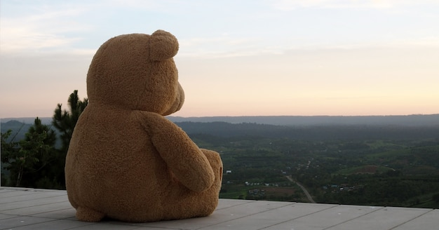 Teddybär, der alleine auf einem hölzernen balkon sitzt. sieh traurig und einsam aus