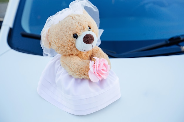 Teddybär weiblich im hochzeitskleid auf verzierter autohaube