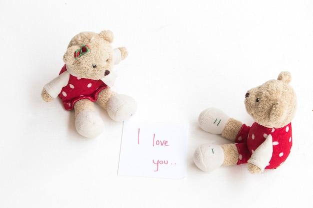 Teddybären neben ich liebe dich nachricht