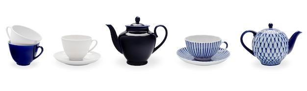 Tee set. eine reihe von tassen, untertassen und teekannen.