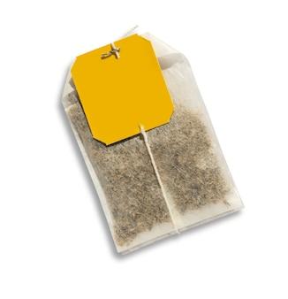 Teebeutel mit gelbem etikett