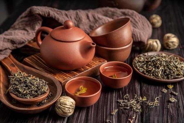 Teekanne und tassen auf dem schreibtisch