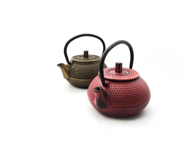 Teekannen aus gusseisen - gold und rot