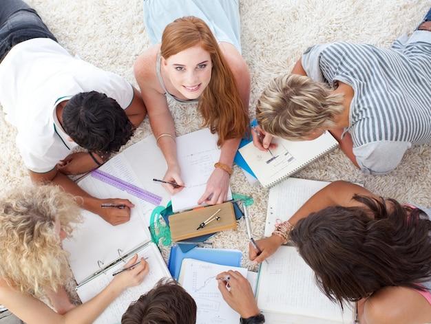 Teens, die zusammen hausaufgaben machen