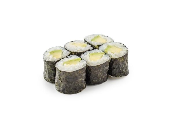 Teil der japanischen küche des suhi-reis-maki lokalisiert auf weiß.