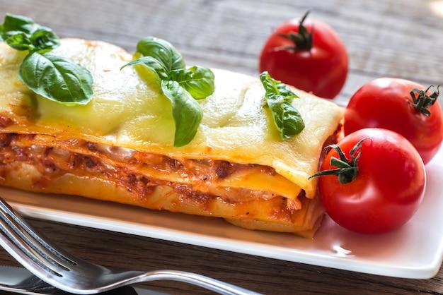 Teil der klassischen lasagne