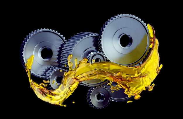 Teile im automotor mit schmieröl bei reparatur