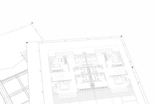 Teilplan des architekturprojekts auf dem weißbuch