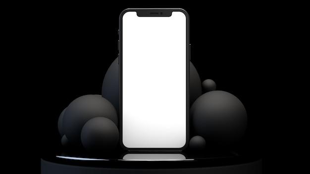 Telefon auf dem spiegelpodest auf der rückseite der grauen kugeln