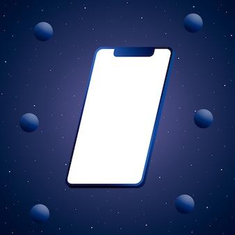 Telefon blau mit einem leeren bildschirm und bällen 3d rendern