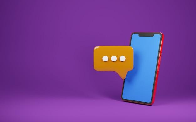 Telefon blauer leerer bildschirm mit chat-blase illustration renderbild