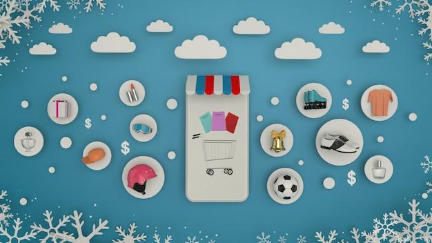 Telefon für die eingabe von inhalten, umgeben von einkaufstüten, einkaufswagen auf wall-3d-rendering. - abbildung 3d
