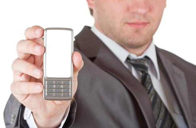 Telefon in der hand des geschäftsmannes