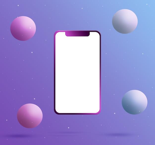 Telefon mit einem leeren bildschirm und bällen 3d rendern