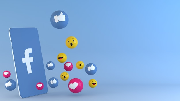 Telefon mit facebook popping up icons