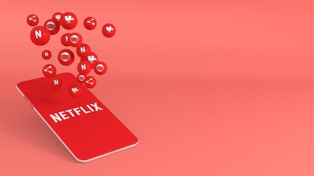 Telefon mit netflix-popup-symbolen