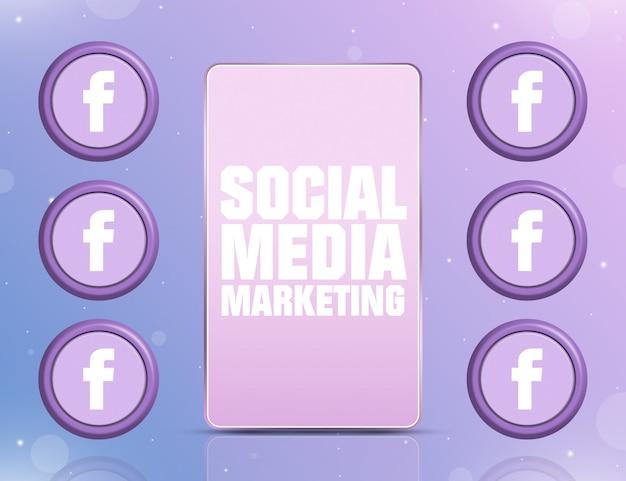 Telefon mit smm auf dem bildschirm und symbolen des sozialen netzwerks facebook um 3d