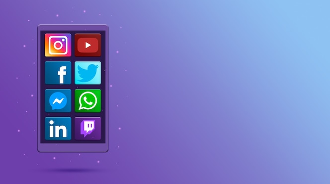 Telefon mit social-media-symbolen 3d