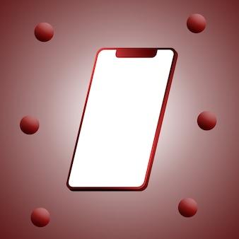 Telefon rot mit einem leeren bildschirm und bällen 3d rendern