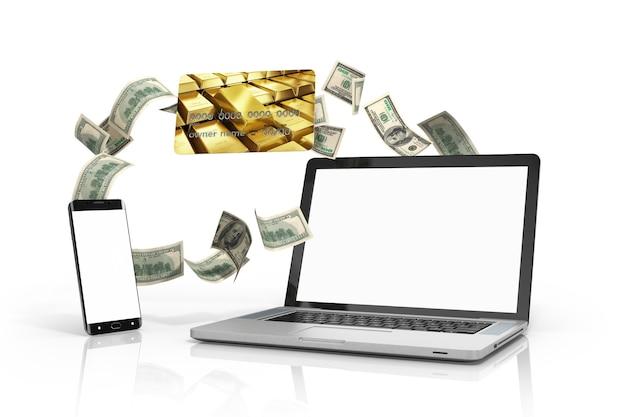 Telefon und ein laptop mit weißem bildschirm und kreditkarten, die auf weißer 3d-illustration isoliert werden