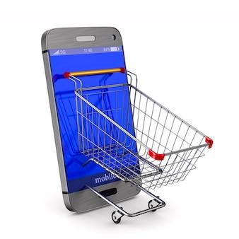 Telefon und einkaufswagen auf weiß.