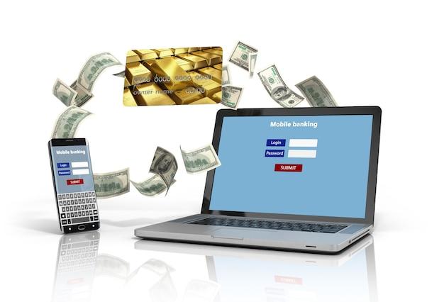 Telefon und laptop mit authentifizierungsbildschirm und kreditkarten, die auf weißer 3d-abbildung isoliert sind