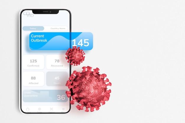 Telefonanwendung zur aktualisierung des coronavirus-ausbruchs