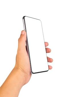 Telefonhand lokalisiert auf weiß