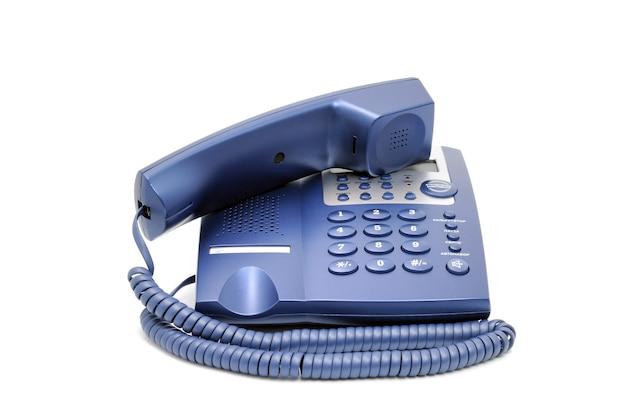 Telefonsammlung - modernes blaues geschäftsbürotelefon lokalisiert auf weißem hintergrund.