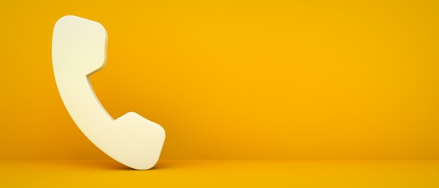 Telefonsymbol auf gelbem hintergrund 3d rendering